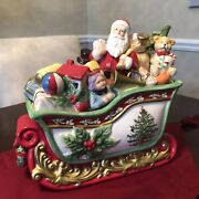 New In Box Spode Christmas Tree Large And Heavy Santa In Sleigh Toys Cookie Jar