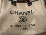 Authentic Canvas Medium Deauville Tote White With Blue