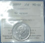 Canada 2005 - Nickel Plated Veterans Quarter - Graded Ms-66 By Iccs