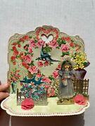 Vintage Large 1910and039s Pull Down Valentineand039s Day Card Little Girl In Garden
