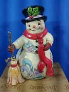 Jim Shore Heartwood Creek Snowman With Broom And Scarf Figurine, 8.5 Inch,