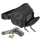 Black Genuine Leather Concealed Carry Weapon Pistol Fanny Pack Gun Waist Bag Ccw