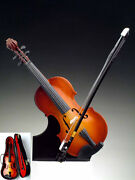 Music Instrument Miniature - 7 Wooden Violin With Case And Stand - Cv18