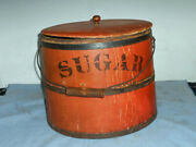 1800's Shaker Style Sugar Pail Bucket Red Paint