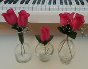 3 Clear Glass Decorative Bottles Or Flower Vases Thick Bottom Long Neck And Oval