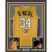 Framed Autographed/signed Shaquille Shaq Oand039neal 33x42 La Yellow Jersey Jsa Coa