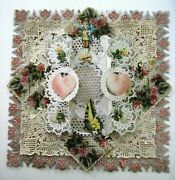 Gorgeous Large Victorian Valentine W/silver Paper Lace, Pink Hearts And Butterfly