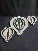 Vintage E And R Ceramic Leaf Shaped Tuxedo Plate And 2 Bowls Hand Painted Italy