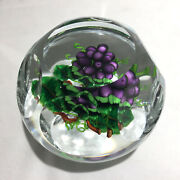Signed Ken Rosenfeld Glass Paperweight With Grapes