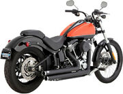 Exhaust System 2-into-2 Big Shots Staggered Black - Harley Davidson Abs Glide...
