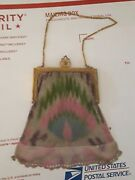 Antique Whiting And Davis Art Deco Mesh Purse Clutch Bag Peacock Feather Design