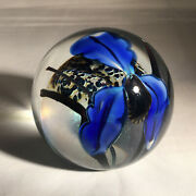 Richard Satava Glass Paperweight With Blue Orchid Signed 1995