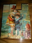 19 Beautiful Antique Victorian Lithograph Seaside Wooden Blocks Toy Puzzle Set