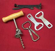 Vintage Lot Of 5 Bottle Openers Cans Wine Coca Cola Xx Superior Beer Collection