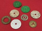 Vintage Trade Tokens Lot 8 Tax Transit Fair Dallas Ny Good For 5 Cents In Trade