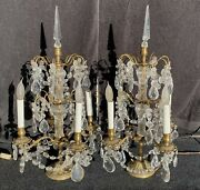 Pair Of Vintage Brass Crystal Table Lamps With Prisms- Set Of 2