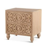 24 W Night Stand Two Drawer Whitewashed Solid Mango Wood Carved Drawer Fronts