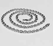 10kt Solid White Gold Handmade Rolo Link Menand039s Chain/necklace 26 52 Grams 5.2mm