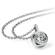 Round 0.75 Ct Real Engagement Diamond Pendant Solid 14k White Gold For Ladies