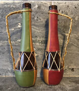 2pc Vtg Lobeco Glass Bottles Spain Patchwork Stitched Faux Leather Wrapped