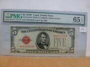 1928-f 5 Legal Tender Star Note Fr 1531 Wide I Pmg 65 Epq Unc S 08705835a