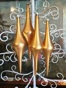 Vtg Italy Blown Mercury Glass Ornament Gold Set Lot 4 Long Marked 1 Of 2 Sets