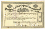 Dubuque And Sioux City Rail Road Company. Stock Certificate. S/b Morris Jessup