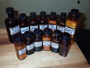 13 Antique Label Under Glass Amber Apothecary Bottles W.t. Co Whitall Tatum Lug