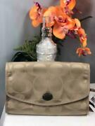 Nwt Coach Getaway Signature Nylon Cosmetic Kit Travel Bag Case In Khaki F77392