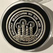 Holiday Greetings Candles Xmas Coin 1 Troy Oz .999 Fine Pure Silver Round Medal