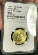 1966 Sierra Leone Ngc Ms67 1/4 Goldie Super High Grade Ngc Ms67 Extra Rare