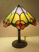 Antique Stained Glass Apple Blossom Table Lamp, Handel, Miller, B And H Era