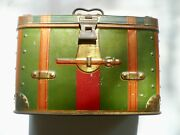 Vintage Germany Ca. 1925 Tin Box Trunk Red Green Hinged Handle Latch Schultze