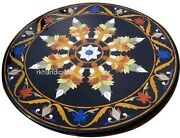 30 Inch Black Marble Patio Table Top Floral Pattern Dinette Table For Christmas
