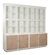 113 W Bookcase Solid Pine Hardwood Antique White With Weathered Natural Doors