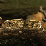 Real 18k Yellow Gold Wedding Couple Band For Valentine All Size Available