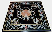 36 Inches Marble Patio Dining Table Top Stone Coffee Table With Heritage Art