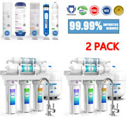 2 Pack 5 Stage 75gpd Reverse Osmosis Drinking Water Filter System Purification