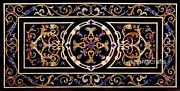 30 X 48 Inches Marble Dinette Table Top Black Coffee Table Top With Heritage Art