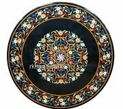 Floral Border Pattern Marble Patio Dining Table Round Utility Table Top 48 Inch