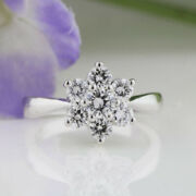 Real 1.08 Ct Round Cut Diamond Engagement Ring 14k White Gold Size 6 8.5 9.5