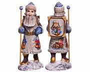 Wooden Hand Carved 11 Acrylic Painted Santa Claus Figurine