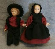 Pair Boy And Girl Porcelain Pioneer Doll S 5 1/2 Inchs Tall Unmarked Super Cute