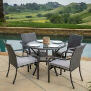 5 Piece Outdoor Wicker Yard Deck Patio Dining Table Chairs Furniture Set