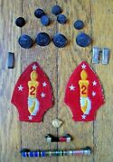 Original Lot Of Ww2 U.s.m.c. Marine Corps 2nd Patches, Buttons And Ribbon Bars