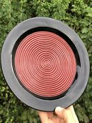 Fine Old Japanese Hand Made Red And Black Lacquer Wood Plate Meiji Period