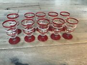 Antique Depression Era Footed Cordials Ten 10 Red And White Circles 3 Inches