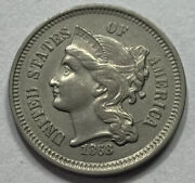 Beautiful Uncirculated United States 1868 3 Cent Nickel Choice Coin. Raw0281
