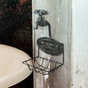 French Country Farmhouse Rustic Metal Wire Water Spigot Faucet Soap Dish