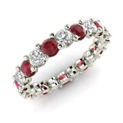 Real 2.03 Ct Diamond Ruby Wedding Gemstone Ring Solid 18k White Gold Band Size 7